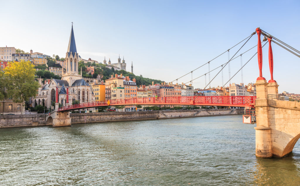 Lyon, France - Vieux District, Saone River, Saint-Georges Church, Fourviere
